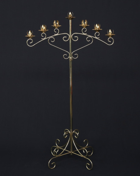 brass 7 branch curved candelabra