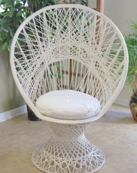 wicker fanback bridal shower chair