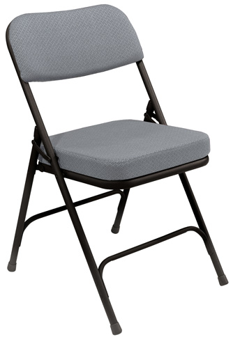 grey padded folding chair rental