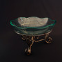 glass bowl with stand round wavy edge