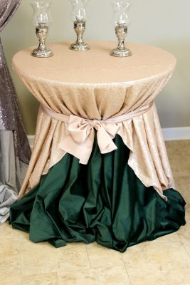 pedestal high top bistro table with leaf velvet linen underlay