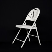 white fanback padded folding chair rental