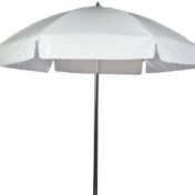 white vinyl umbrella rental