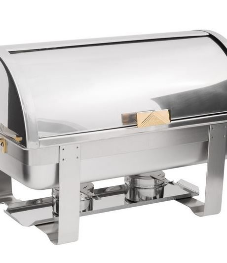 brass and chrome roll top 8qt chafer
