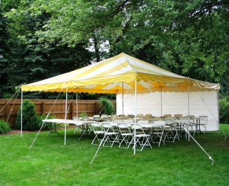 20 x 20 canopy yellow and white striped