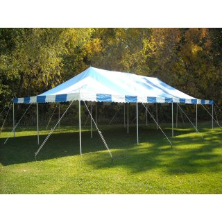 20 x 40 blue and white striped canopy