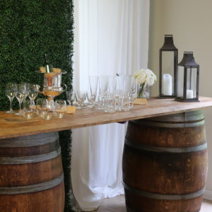 rustic barrel bar setup