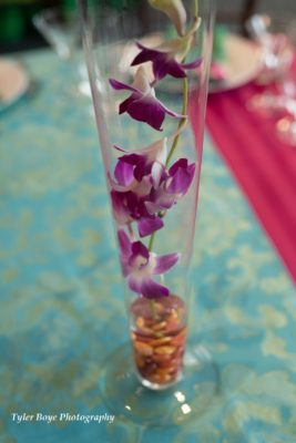 purple orchid center piece