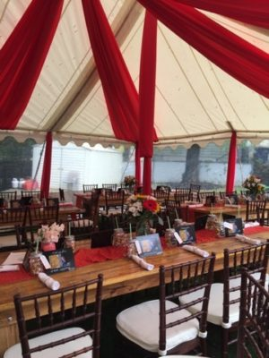 tent drape farm table rental