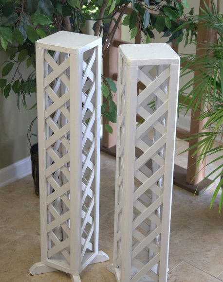 white pedestal wedding columns