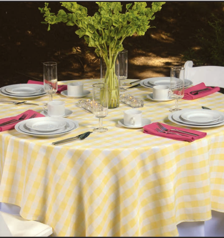 Lemon Yellow Check linen