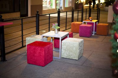 furniture cubes in red