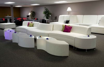 Continental Madras with Lighted Qtr Round Ottomans