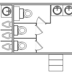 Large Gold Restroom Trailer with 8 Stations