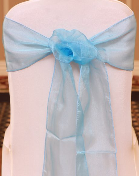 turquoise organza linen rental