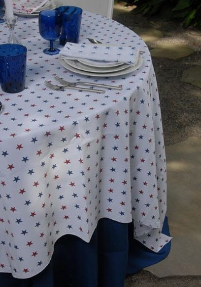 blue red star linen