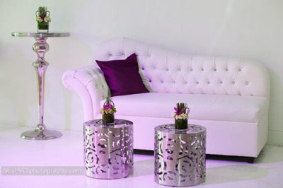 crystal loveseat with rose tables and zinc bar table