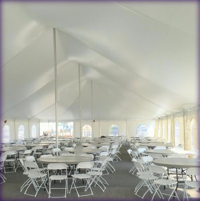table setup rental tent and furniture