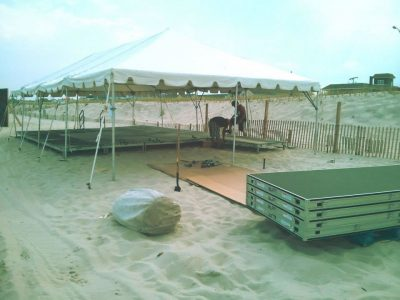 temporary stage at the beach