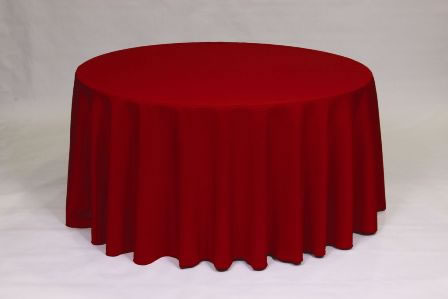 Red Poly solid linen rental