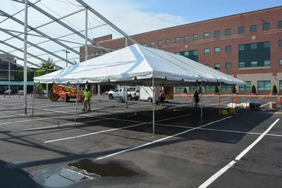 Temp Parking lot tent setup