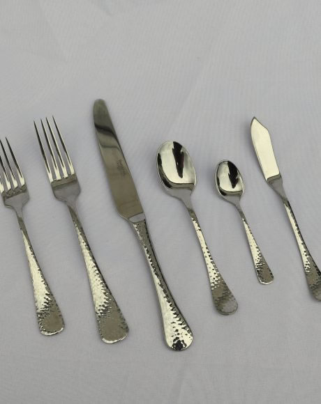 hammered flatware rental