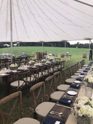 crossback chair farm table sailcloth wedding tent