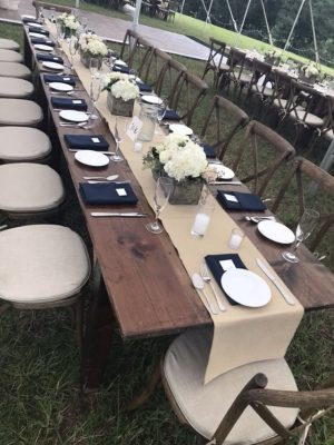 farm table crossback chair with runner rental