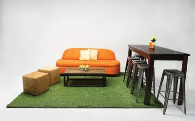 rustic and modern event furniture