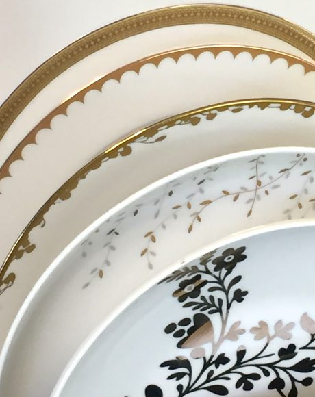 gold accent dessert or salad plates