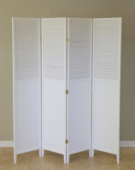 freestanding white folding screen