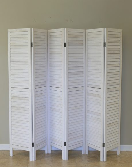 6 panel white wash folding screen