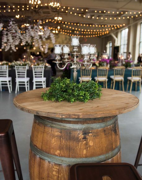 wine barrel with table top and oscar barstools