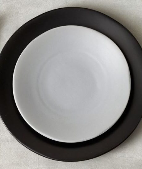heirloom stoneware plate smoke and charcoal
