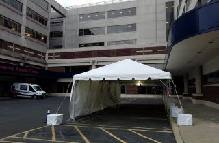 16x40 drive through testing site at abington jefferson health hospital