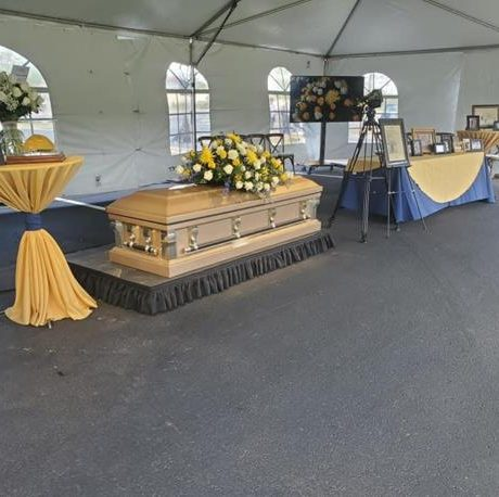 drive through memorial viewing of casket
