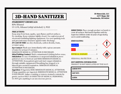 hand sanitizer liquid label