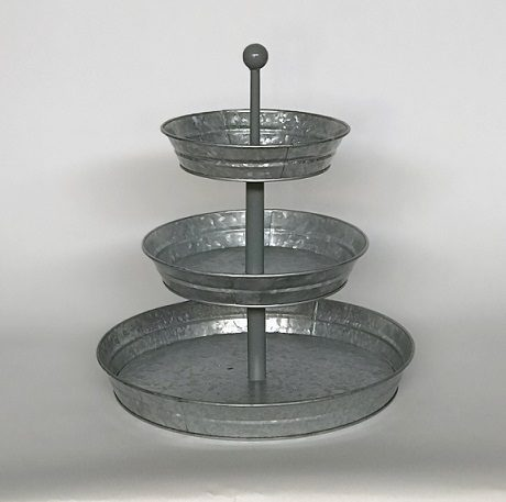 3 tier rustic round tray stand