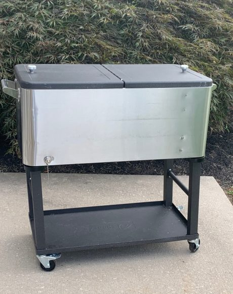 stainless steel ice cart cooler on wheels
